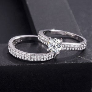 Silver Rhinestone Rings for Couples 7(US) - 100/Lot