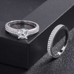 Silver Rhinestone Rings for Couples 8(US) - 100/Lot
