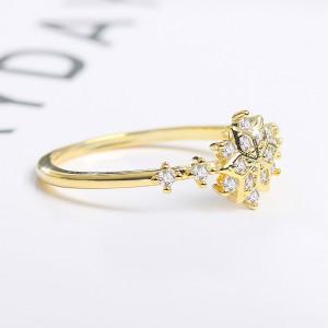 Gold Snowflake Rhinestone Ring 5(US) - 100/Lot
