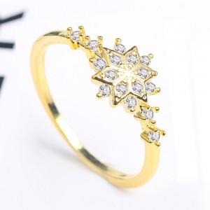 Gold Snowflake Rhinestone Ring 6(US) - 100/Lot