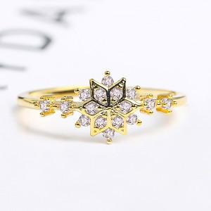 Gold Snowflake Rhinestone Ring 7(US) - 100/Lot