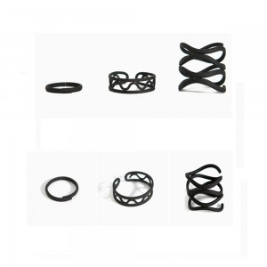 Black 3-Piece Set of Line Swirl Geometric Ring 6(US) - 100/Lot