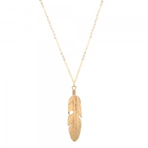 Gold Feather Long Pendant Necklace - 100/Lot