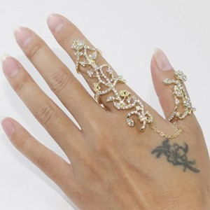 """Gold Crystal Rose Chain Ring 1.8cm (0.5"""") - 100/Lot"""