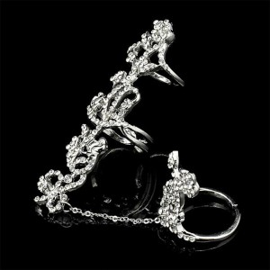 """Silver Crystal Rose Chain Ring 1.9cm (0.75"""") - 100/Lot"""