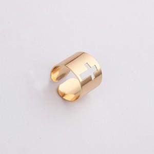 """Gold Cross Cuff Minimalist Ring 1.4cm (0.5"""") - 400/Lot"""