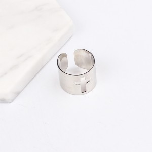 """Silver Cross Cuff Minimalist Ring 1.4cm (0.5"""") - 400/Lot"""