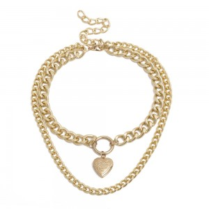 Gold Double Layered Design Chain Necklace - 100/Lot