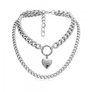 Silver Double Layered Design Chain Necklace - 100/Lot