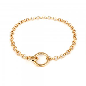 Gold Round Circle Chain Necklace - 100/Lot