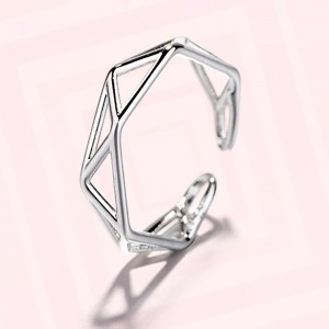 Silver Triangular Geometric Ring 6(US) - 200/Lot