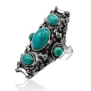 Green Crown Turquoise Elongated Ring 6(US) - 200/Lot