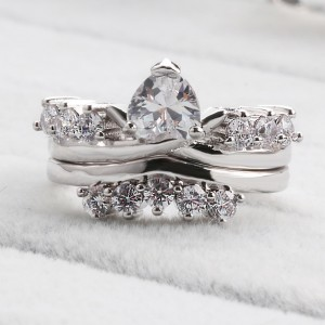 Silver Crown Eternity Engagement Ornate Ring 10(US) - 100/Lot
