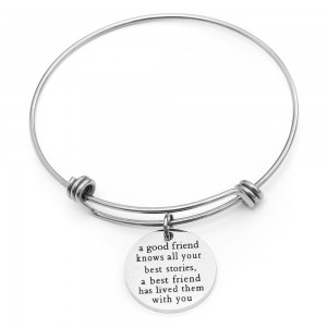 Silver Inspirational Engraved Bangle Bracelet - 100/Lot