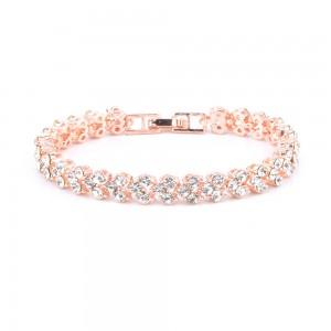 "Rose Gold Luxurious Rome Crystal Chain & Link Bracelet 16.5cm (6.25"") - 100/Lot"