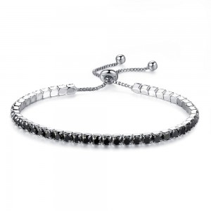 """Black Rhinestone Crystal Adjustable Slider Bracelet 24cm (9.25"""") - 100/Lot"""