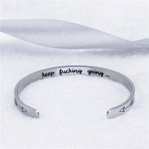 Silver Inspirational Engraved Cuff Bracelet in Titanium Steel - 100/Lot