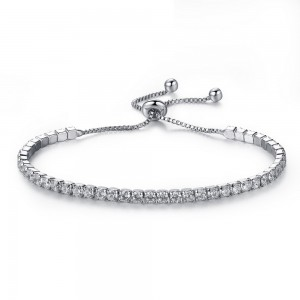 "Silver Rhinestone Crystal Adjustable Slider Bracelet 24cm (9.25"") - 100/Lot"