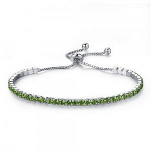 "Green Rhinestone Crystal Adjustable Slider Bracelet 24cm (9.25"") - 100/Lot"