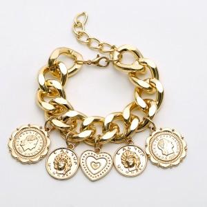 Gold Embossed Coin Heart Charm Bracelet - 90/Lot