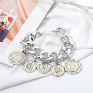 Silver Embossed Coin Heart Charm Bracelet - 90/Lot