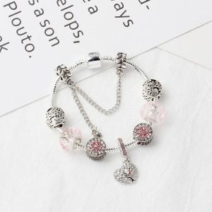 "Pink Hollow Love Tree of Life Beaded Bracelet 6.5"" - 50/Lot"