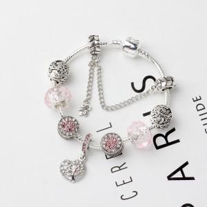 "Pink Hollow Love Tree of Life Beaded Bracelet 7"" - 50/Lot"