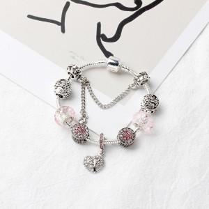 "Pink Hollow Love Tree of Life Beaded Bracelet 7.5"" - 50/Lot"