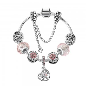 "Pink Hollow Love Tree of Life Beaded Bracelet 8.25"" - 50/Lot"