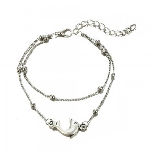 Silver Double Chained Dolphin Anklet - 300/Lot