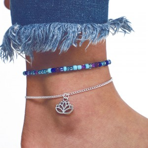 """Silver Lotus and Beaded Anklet 21.5cm + 5.5cm (8.25"""" + 2"""") and 16.5cm + 9cm (6.25"""" +3.5"""") - 100/Lot"""