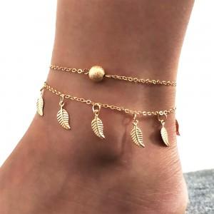 "Gold Double Tassel Small Leaf Anklet 18cm + 5cm (7""+1.75"") - 200/Lot"
