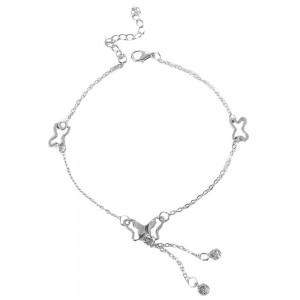 Silver Butterfly Tassel Anklet - 200/Lot