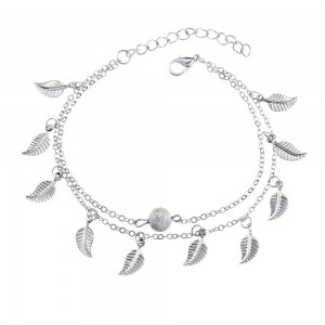 """Silver Double Tassel Small Leaf Anklet 18cm + 5cm (7""""+1.75"""") - 200/Lot"""