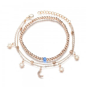 """Gold Triple Chained Star Moon Anklet 22cm + 5cm (8.5""""+1.75"""") - 100/Lot"""