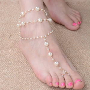 White Triple Toe Chained Pearl Anklet - 100/Lot