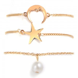 """Gold Star Moon Pearl Anklet 18cm + 6cm (7""""+2.25"""") - 100/Lot"""