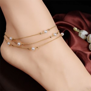 Triple Chained Pearl Anklet in Gold - 100/Lot