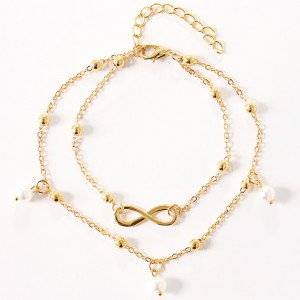 """Gold Double Chained Infinity Pearl Anklet 27cm + 6cm (10.5""""+2.25"""") - 300/Lot"""