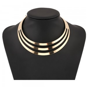 Plated Layered Collar Necklace in Gold - 100/Lot