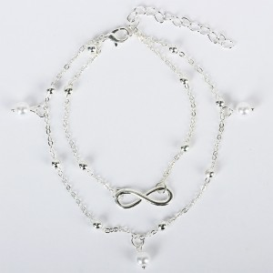 """Silver Double Chained Infinity Pearl Anklet 27cm + 6cm (10.5""""+2.25"""") - 300/Lot"""