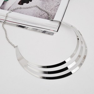 Plated Layered Collar Necklace in Silver - 100/Lot