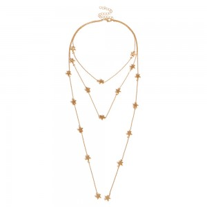 "Gold Star Pendant Tassel Layered Necklace 30cm + 7cm (11.75""+2.75"") - 80/Lot"
