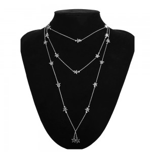 "Silver Star Pendant Tassel Layered Necklace 30cm + 7cm (11.75""+2.75"") - 80/Lot"