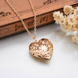 Gold Hollow Lace Heart Shaped Locket Necklace - 300/Lot