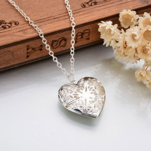Silver Hollow Lace Heart Shaped Locket Necklace - 300/Lot