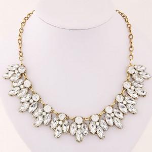 """Gold Vintage Crystal Flower Statement Necklace 40cm x 13cm x 2.9cm (15.5"""" x 5"""" x 1"""") - 80/Lot"""