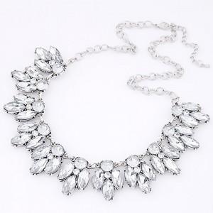 """Silver Vintage Crystal Flower Statement Necklace 40cm x 13cm x 2.9cm (15.5"""" x 5"""" x 1"""") - 80/Lot"""