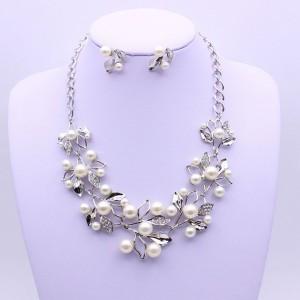 Silver Pearl Rhinestone Flower Statement Necklace - 80/Lot