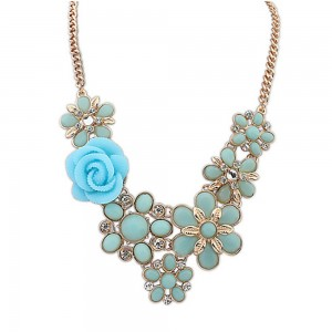 """Blue Bohemian Flower Statement Necklace 50cm x 5cm (19.5""""x1.75"""") - 70/Lot"""